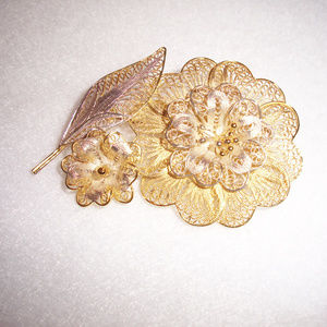 Gold Gilded Silver Flower Brooch